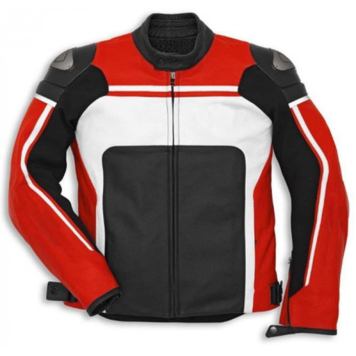 Men's Red White Motorcycle Racing Cowhide Biker Leather Jacket