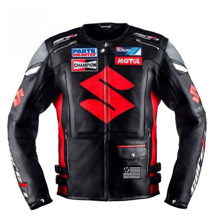 Men's Red Black Suzuki Motul Champion Motorbike Racing Leather Jacket