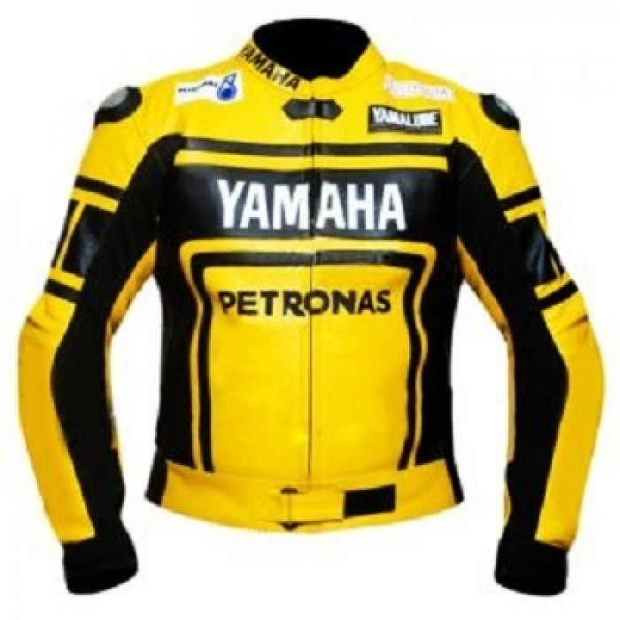 Men's Yamaha Yellow Petronas Motorbike Leather Jacket