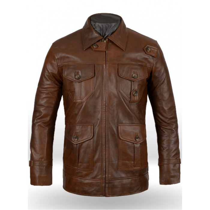 Men's Expendables 2 Spanish Brown Vintage Waxed Jason Statham Leather Jacket
