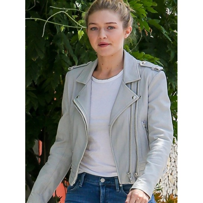 Gigi Hadid Gray Leather Biker Jacket