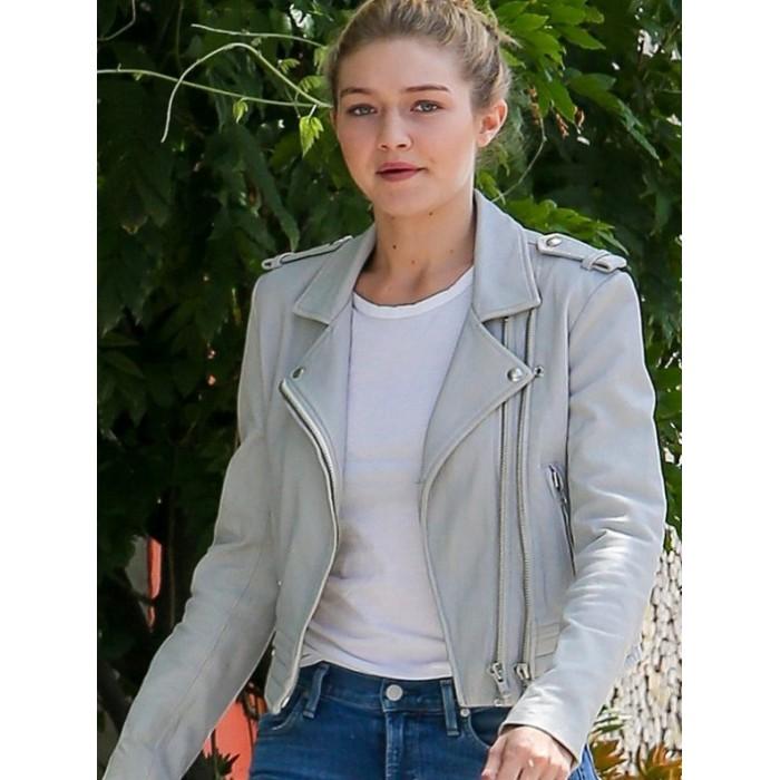 Gigi Hadid Gray Leather Biker Jacket