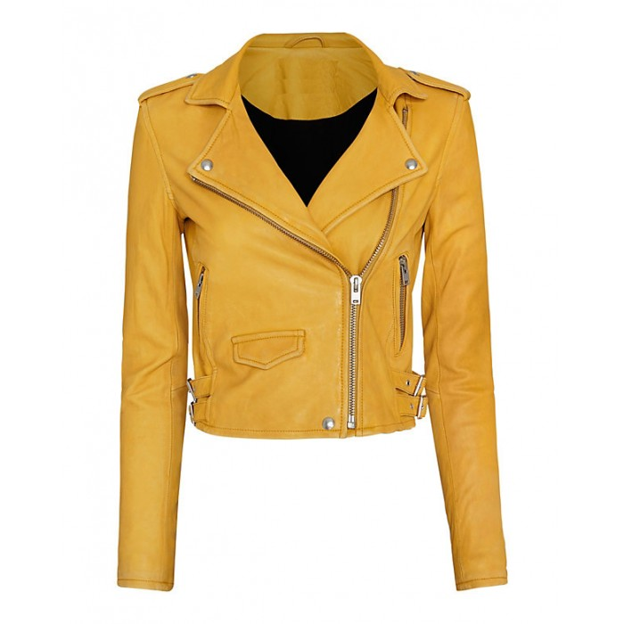 Hilary Duff Biker Style Yellow Leather Jacket