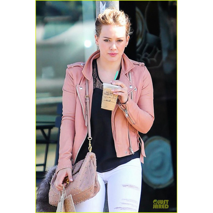 Hilary Duff Pink Leather Biker Jacket