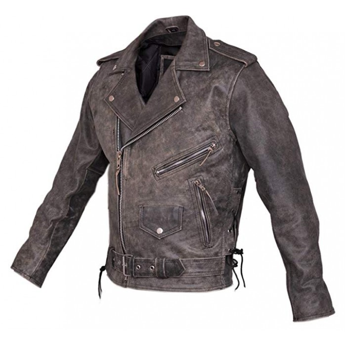 Marlon Brando Stonewashed Distressed Vintage Leather Biker Jacket