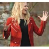 Once Upon A Time Season 7 Episode 2 Emma Swan Red Suede Zip Moto Jacket
