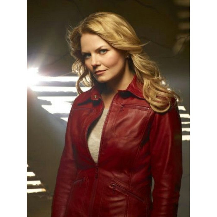 """ONCE UPON A TIME"" Jennifer Morrison ""Emma Swan"" Ladies Red Sheepskin Movie Leather Jacket"