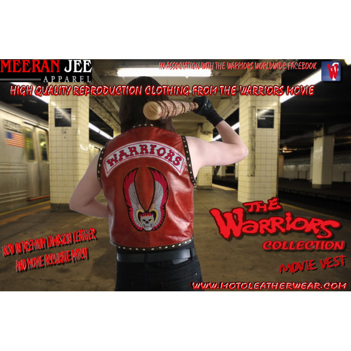 The Warriors Movie Vest Premium Reddish Vintage Lambskin Custom Halloween Replica Vest
