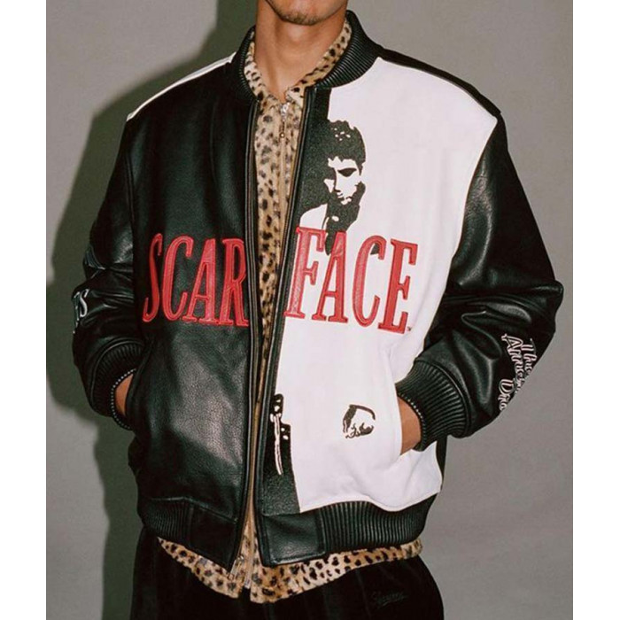 Men's Tony Montana Scarface Al Pacino Bomber Leather Jacket